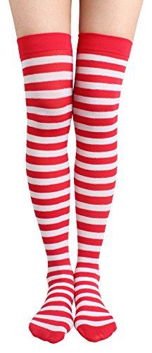 Jasmino Women Striped Thigh High Socks, Colorful Over Knee Hosiery Stockings (Red White)
