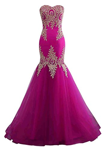 1980 Trains - Changuan Mermaid Evening Dress for Women Backless Formal Long Prom Dresses with Embroidery Fuchsia with Train-8