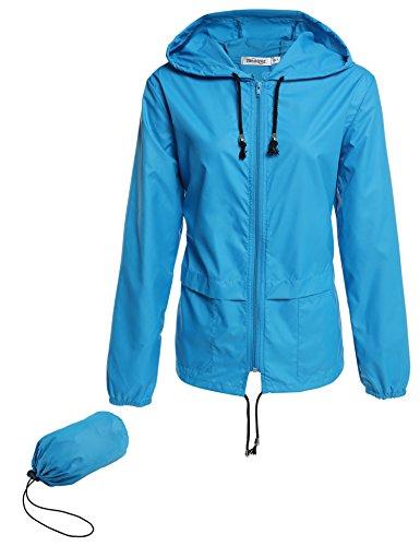 Beyove Women's Lightweight Rain Jacket Active Outdoor Waterproof Packable Hooded Raincoat (Medium, A - Sky Blue)
