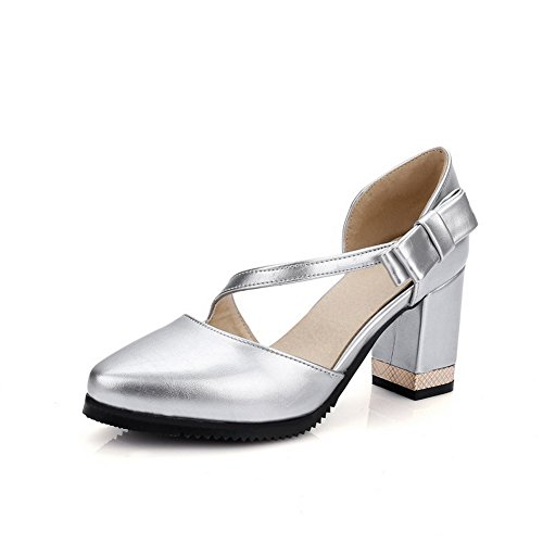 AmoonyFashion Womens High Heels Patent Leather Solid Pull On Pointed Closed Toe Pumps Shoes Silver GRfSxng