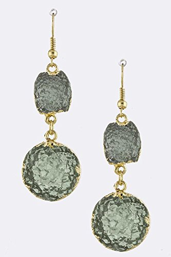 KARMAS CANVAS GOLD FRAMED ROUND FAUX GEM EARRINGS (Mint)