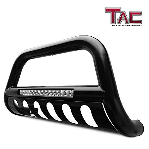 (TAC LED Lighting Bull Bar Fit 2005-2015 Toyota Tacoma Pickup Truck 3 inches Black Front Brush Bumper Guard Grille Guard Push Guard with LED Off-Road Lights Exterior Accessories)