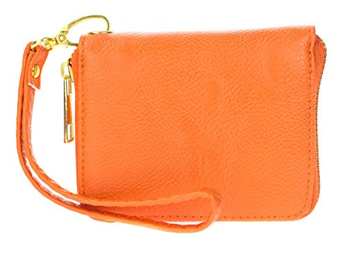 Proya Collection Mini-size Single Zip Around Coin Wristlet Wallet (Orange)