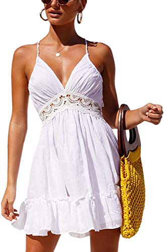 ECOWISH Womens Dresses V Neck Spaghetti Strap Backless Sleeveless Lace Mini Swing Skater Dress White2 ()