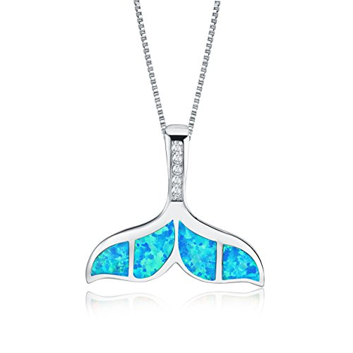 Mevecco Womens Girls Necklace with 14K White Gold Fill Opal Solid Dolphin Whale Tail Chain Pendant Fashion Jewelry -Mermaid-Blue
