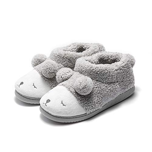 GaraTia Warm Indoor Slippers for Women Fleece Plush Bedroom Winter Boots Grey High Top 7-8.5 M US ()