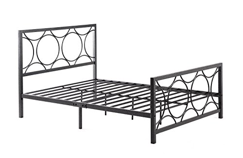 (Hodedah Complete Metal Full-Size Bed with Headboard, Footboard, Slats and Rails in Black-Silver)