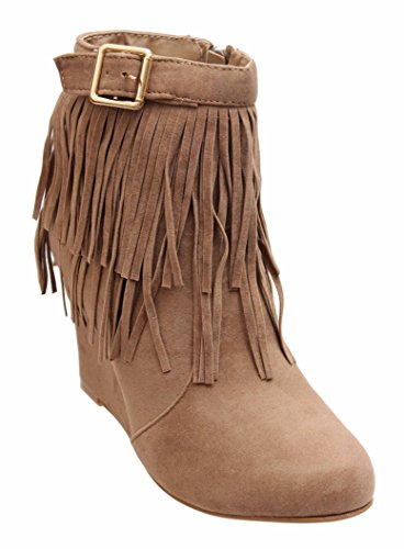 Titan Mall Forever Womens Helpful-82 Size Zip Wedge Riding Sude Boots (9 B (m) Us, Brown)