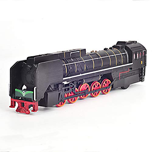 (CORPER TOYS Train Set Classic Train Toys with Lights and Sounds Electric Railway Die Cast Train Car Track Set 1:50 Scale Pull Back Locomotive Model for Kids Boys (Black))