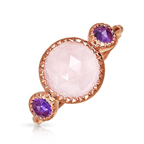 Boho Round Brazilian Amethyst Rose Quartz Ring For Women Hammered Band 925 Sterling Silver