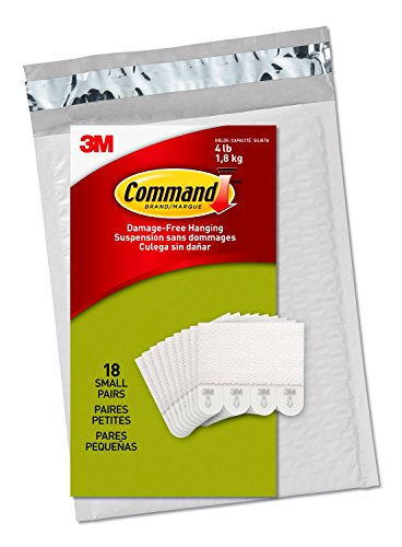 Command Small Picture Hanging Strips, White, 18 Pairs, Four Pairs Hold 4 lbs (PH202-18NA) – Easy To Open Packaging