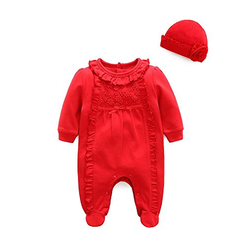 G-real Lace Bodysuit+Caps, Newborn Infant Baby Girls Beautiful Lace Solid Footie Romper Coverall +Floral Hat Outfit Clothes Sets For 3-12M (Red, 3M)
