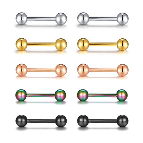 BOBOSTYLE Barbell Rings Stainless Steel Tongue/Nipple Body Piercing Rings Earrings 14G 1/2 Length Mix-color 1/2' Mens Ring