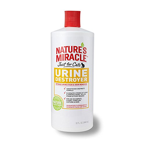 Nature's Miracle Just for Cats Urine Destroyer Intense Urine Stain & Odor Remover, 32-Ounce Pour Bottle (P-5721)