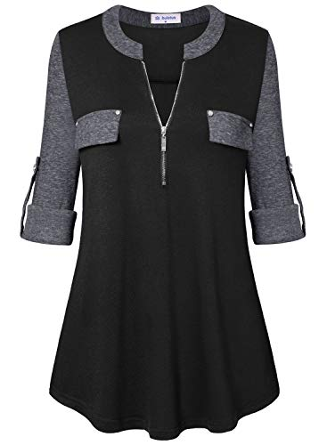 Bulotus 3/4 Sleeve Tunics for Women Casual Tops Zip Front V Neck (Black Grey Patchwork, ()