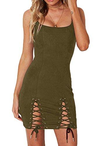 Army Fancy Dress (Sunfury Womens Sexy Spaghetti Strap Hollow Out Bodycon Pencil Dress Clubwear Army Green L)
