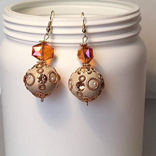 Bejeweled Off White and Gold with Amber Colored Bead BOHO Dangle Earrings.