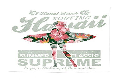 Lunarable Hawaiian Tapestry, Tropical Hawaii Hibiscus Surfing Girl Silhouette Surfboard Retro Themed Artprint, Fabric Wall Hanging Decor for Bedroom Living Room Dorm, 45 W X 30 L inches, Coral Green -