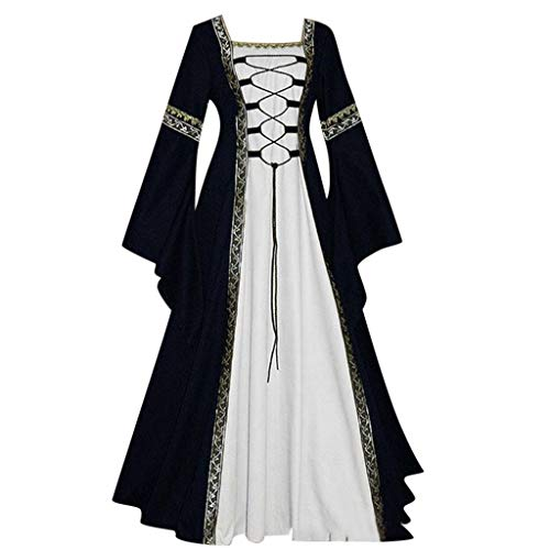Clearance Renaissance Dress,Forthery Women Medieval Dress Queen Gown Retro Velvet Dresses Role Play Dress Up Clothes(Black,XXXXXL) -