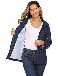 ce7a11cf03f Raincoat Women Waterproof Outdoor Active Mesh Lining Hooded Rain Trench  Jacket
