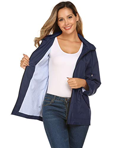 Rain Trenchcoat Women Lightweight Striped Lined with Hood for Hiking(Navy Blue,L)