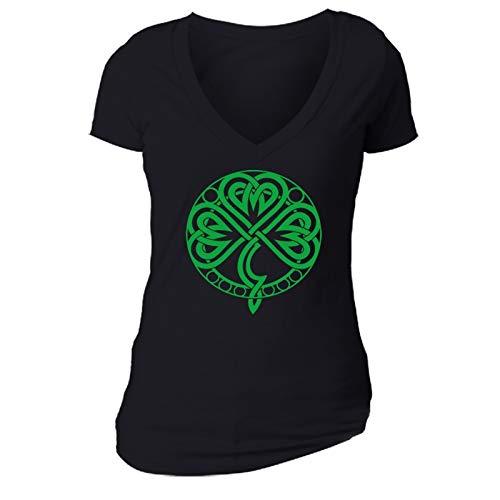 XtraFly Apparel Women's Celtic Knot Shamrock St. Patrick's Irish V-Neck Short Sleeve -