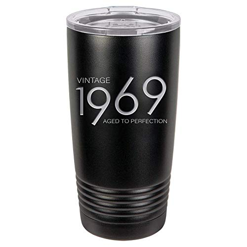 1969 50th Birthday Gifts for Men and Women Black 20 oz Insulated Stainless Steel Tumbler | 50 Year Old Presents | Mom Dad Wife Husband Present | Party Decorations Supplies Anniversary Tumblers Gift th