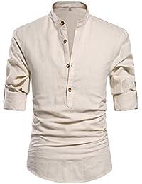Men Henley Neck Long Sleeve Daily Look Linen Shirts