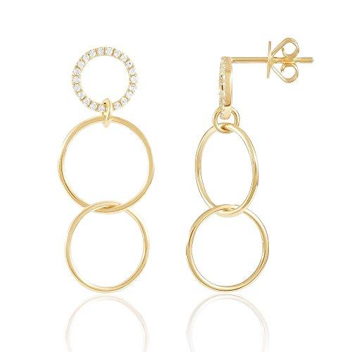 Diamond Hoop Earring, Triple Circle, 14K Gold - Fine Jewelry by Juliette ()