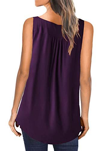 MODARANI Sleeveless Tank Top for Women Casual Loose Fitting Shirts V Neck & U Neck Tunics Floral Printed