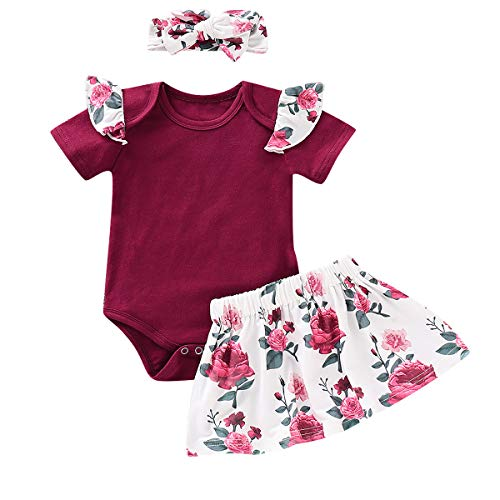 3Pcs Infant Toddler Baby Girl Clothes Ruffle Short Sleeve Romper+Floral Skirt+Headband Outfits (Rose, 6-12 ()