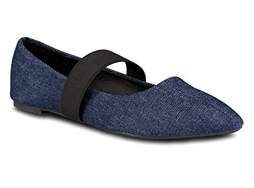 Twisted Womens LINDSAY Elastic Strap Almond Toe Flat - LINDSAY627 DENIM, Size 8