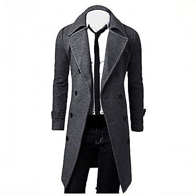 Winter Men Parka Duseedik Slim Stylish Trench Coat Double Breasted Long Jacket