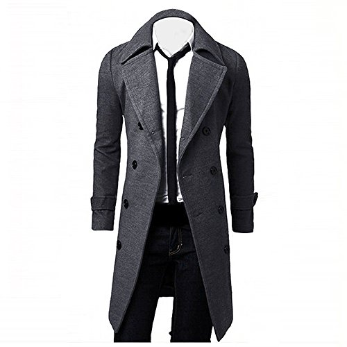 GREFER Clearance New Winter Men Slim Stylish Trench Coat Double Breasted Long Jacket Parka (XXL, Khaki)