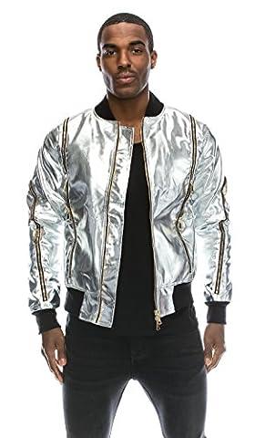 Angel Cola Men's Metallic Faux Leather Bomber Flight Jacket Silver S (Mens Metallic Silver Jacket)