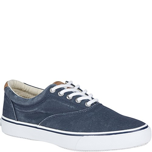 Boat Sneaker (Sperry Top-Sider Men's Salt Washed Striper LL CVO Boat Shoe,Blue,10.5 M US)