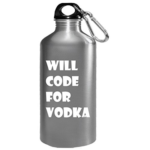 Will Code For Vodka Typography Funny Cool Design - Water Bottle