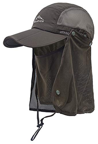 (ELLEWIN Outdoor Fishing Flap Hat UPF50 Sun Cap Removable Mesh Face Neck Cover, D-army Green/ Mesh Neck Cover, M-L-XL)