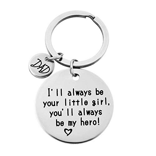 Dolland Dad Mom I Will Always Be Your Little Girl Stamped Keychain for Father Mother ,Dad