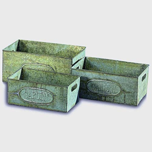 WHW Whole House Worlds Farm Fair Garden Galvanized Zinc Planters, Set of 3, Rectangle Containers, Vintage Style, Shabby Green Gray Rusty Patina, Raised Oval Logo, 15 3 4, 14 1 4, and 13 Inches Long