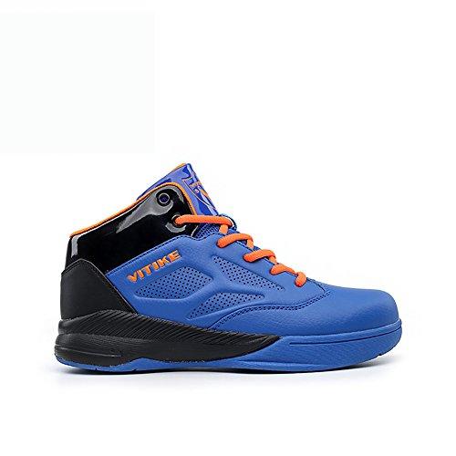 ASHION Zapatos de baloncesto para niños Alto para ayudar a los zapatos deportivos Azul