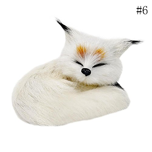 Fox Animal Figurine - Zeroyoyo Sleeping Fox Toys Learning Resources Miniature Plush Stuffed Animal Toy Simulation Fox Model Toy Party Decoration White