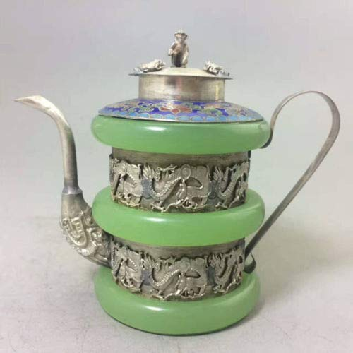 ZAMTAC China Collectible Decorated Chinese Tibet Siver Handwork Dragon Old Green Jade TEAPOT Decoration Metal Handicraft