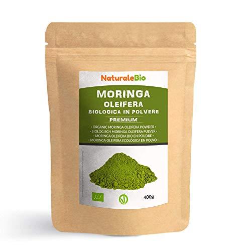 Moringa Oleifera Ecologica en Polvo [Calidad Premium] de 400g Moringa Powder Organica, 100% Bio, Natural y Pura Hojas Recogidas de la Planta de Moringa Oleifera NaturaleBio
