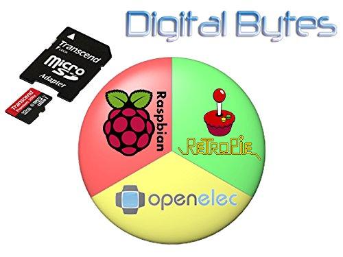 Raspberry Pi 2 and 3 Triple Boot 32GB MicroSDHC Card - Raspbian, RetroPie, OpenELEC by Transcend