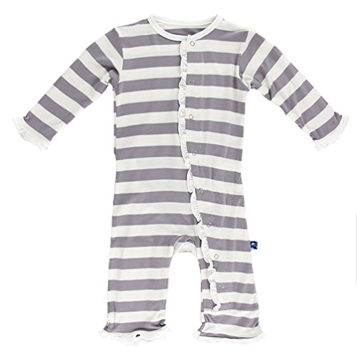Kickee Pants Little Girls Essentials Print Classic Ruffle Coverall with Snaps - Feather Contrast Stripe, 0-3 Months ()