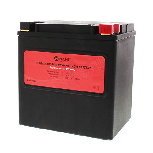 (NICHE Ultra High Performance Replacement AGM Battery for GYZ32HL, Rechargeable, Maintenance Free, Sealed | 450CCA, 12V, Factory Activated | ATV, UTV, Motorcycle | For Polaris, Harley-Davidson & more)