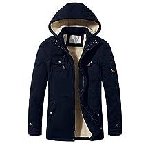 WenVen Men's Casual Fleece Parka Jacket with Hood