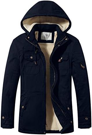 WenVen Men`s Cotton Winter Parka Jacket Casual Warm CoatRemovable Hood