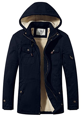 - WenVen Men's Winter Warm Solid Color Lightweight Cotton Hooded Jacket(Navy,M)